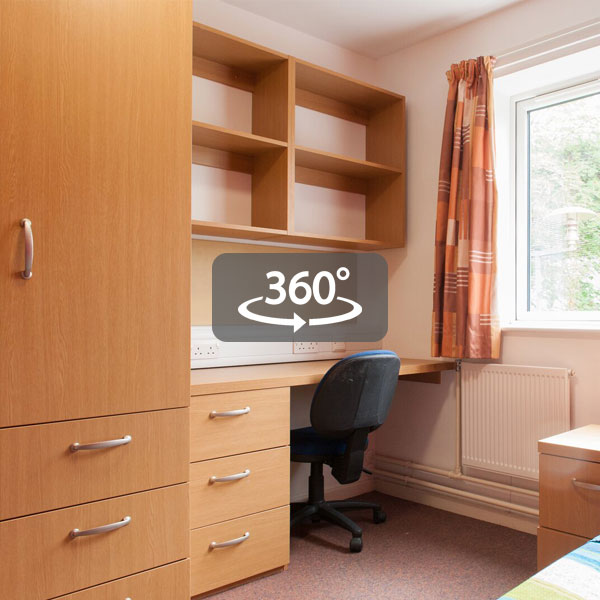 Halls of residence bedroom with 360 degree logo