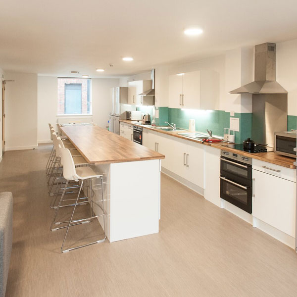 Halls of residence townhouse shared kitchen