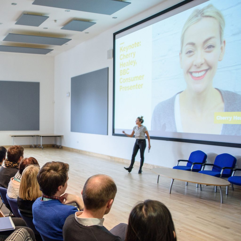 Cherry Healey taking lecture