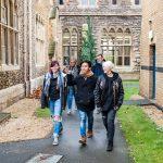 Students walking around FCH campus