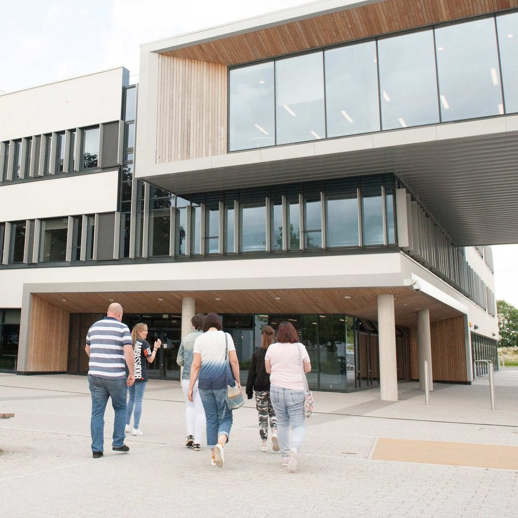 People visiting the Business School, exterior shot