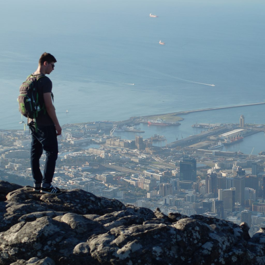 Student on Geography course overlooking city in South Africa whilst on field trip