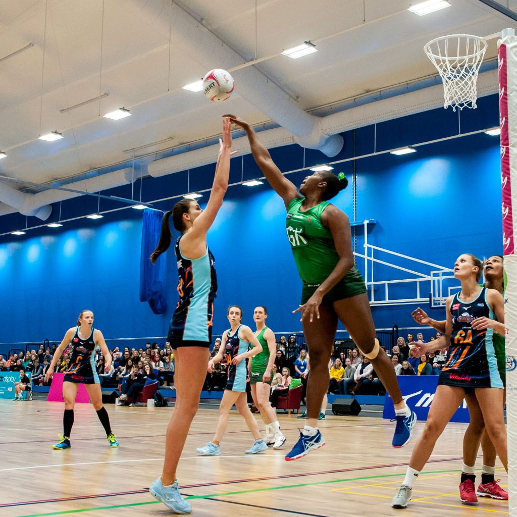 Severn Stars netball team playing a match