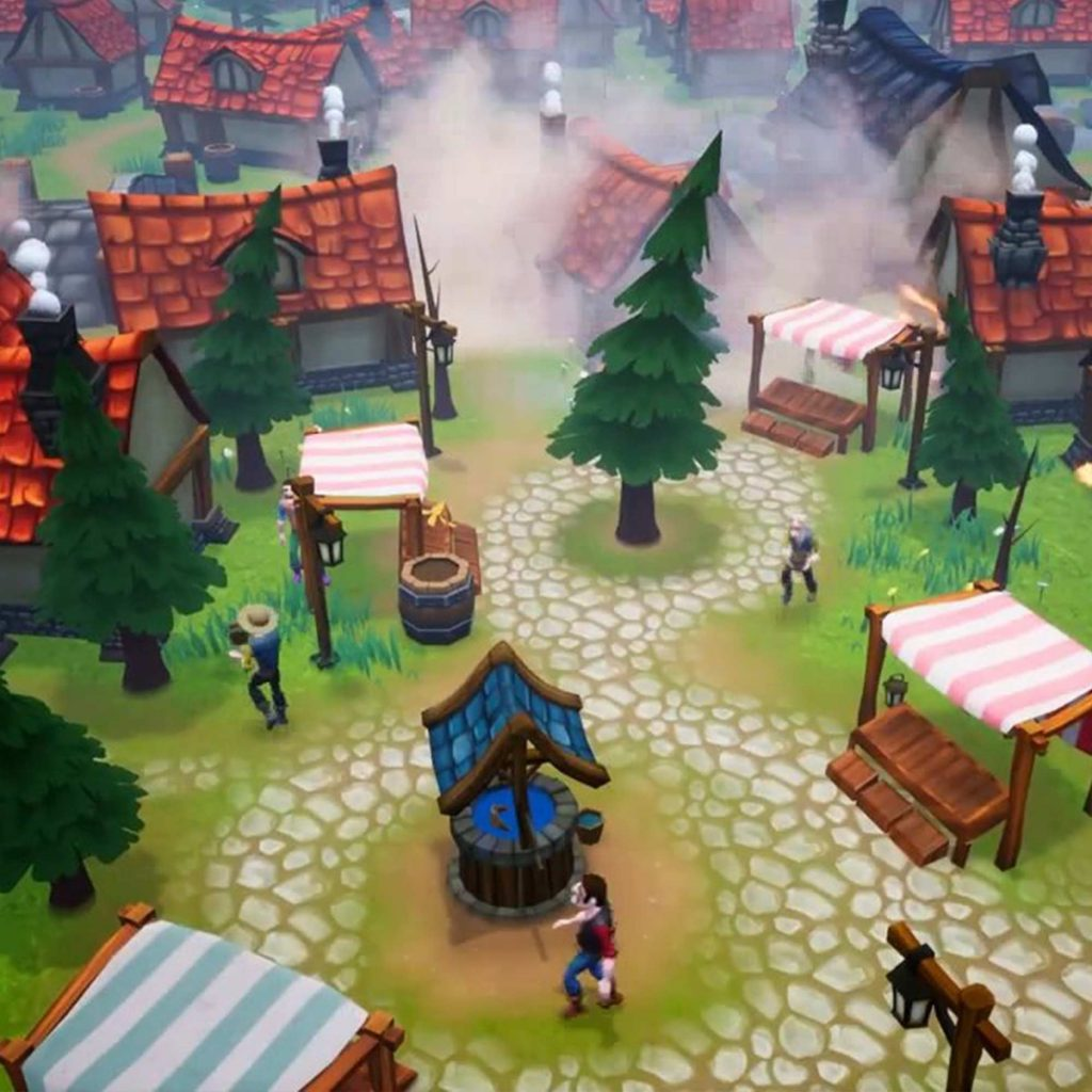 Computer game village scene