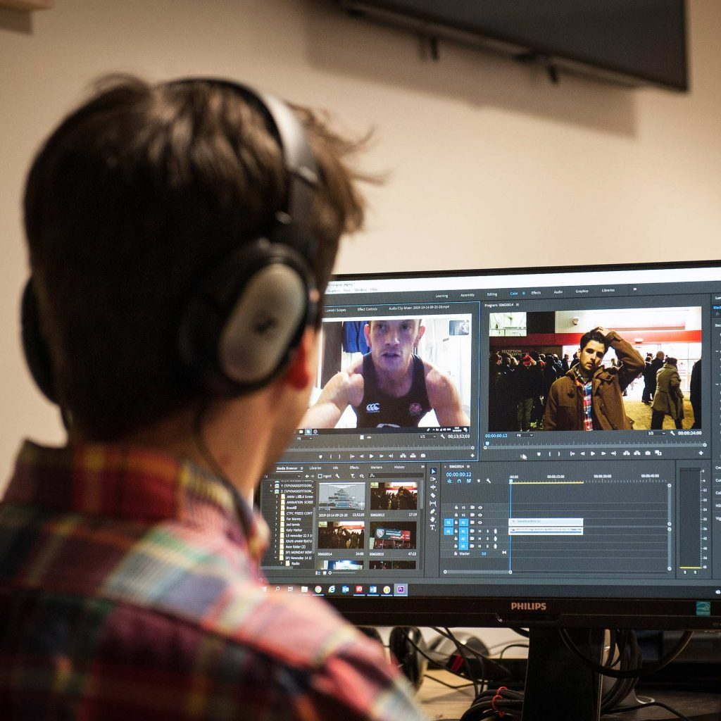 Student editing video footage