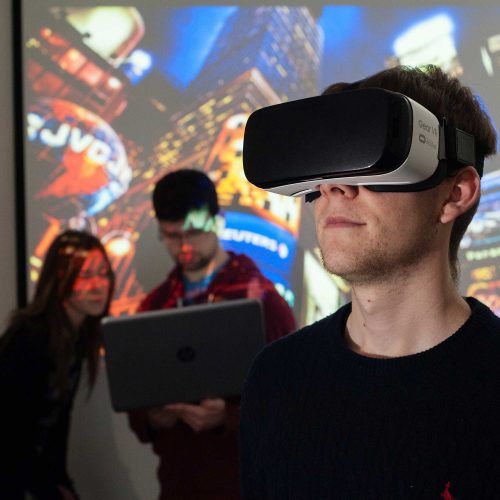 Student using a virtual reality headset