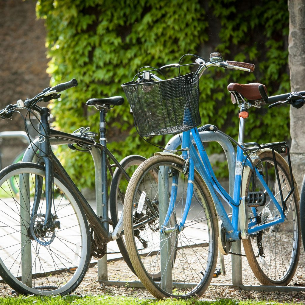 Two bikes on bike rack at Francis Close Hall campus