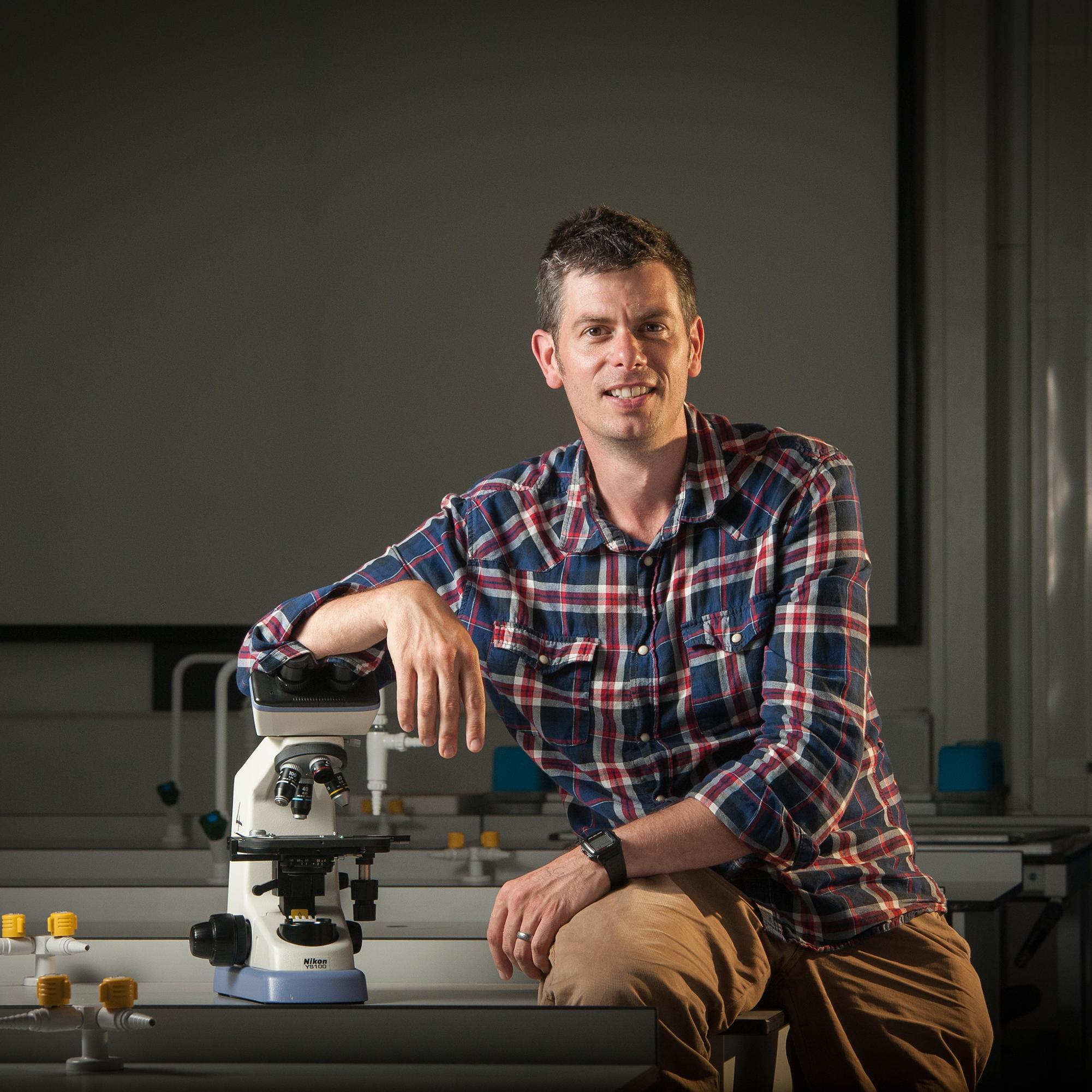 Adam Hart in a laboratory