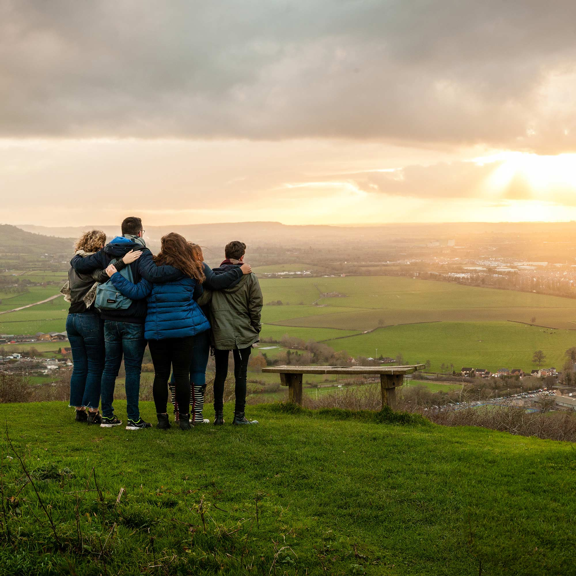 Group of students on top of hill overlooking Cheltenham