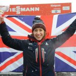 Lizzy Yarnold with GB flag