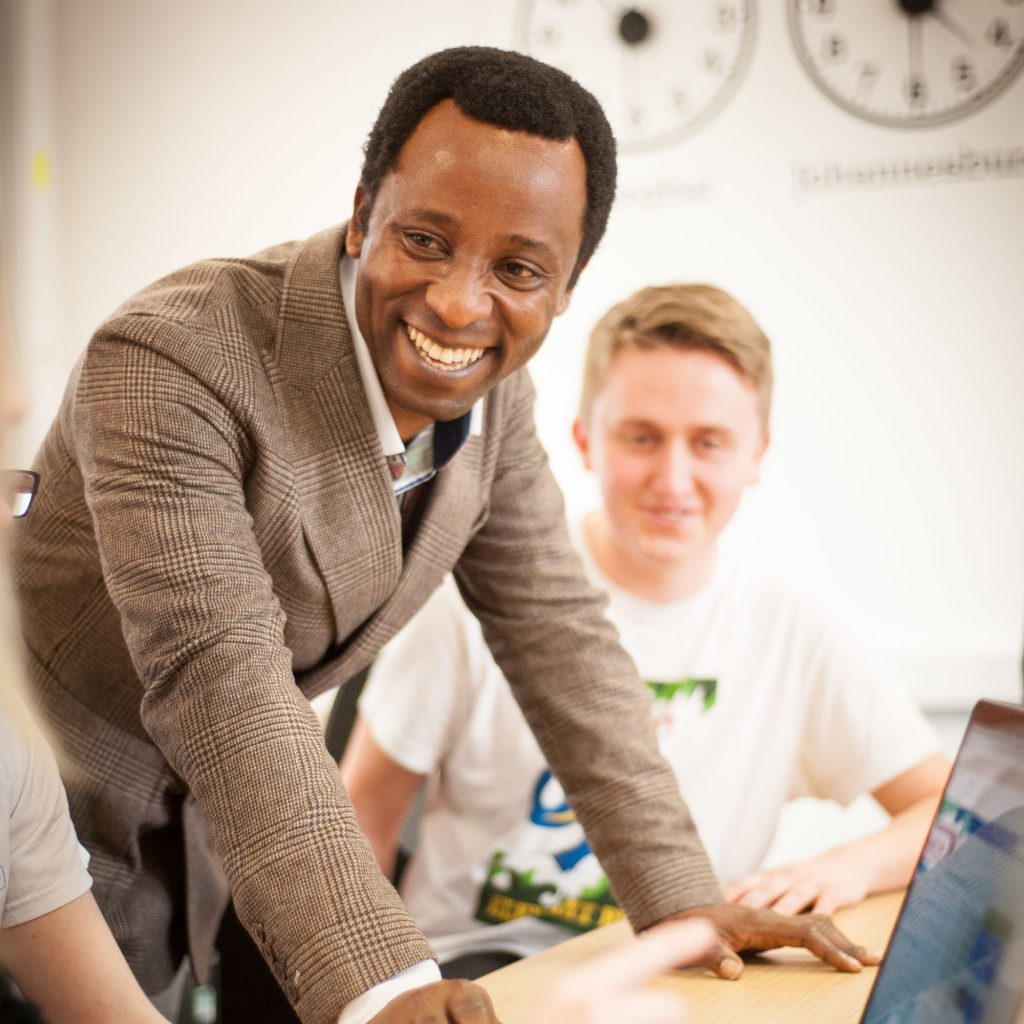 Lecturer smiling during a seminar