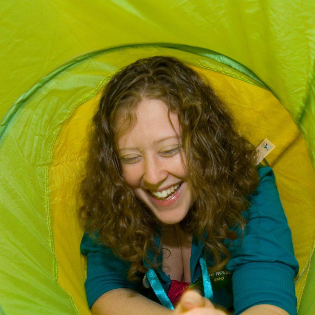 Lady inside inflatable tube during playwork partnerships training