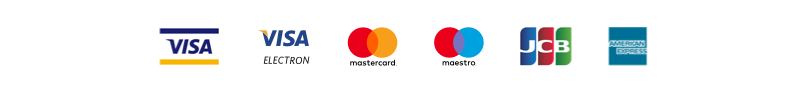 Major credit card logos including Visa, MasterCard, American Express, Maestro