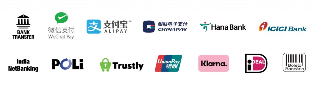 International payment service logos, including WeChat Pay, Klarna, Alipay, Trustly and Poli