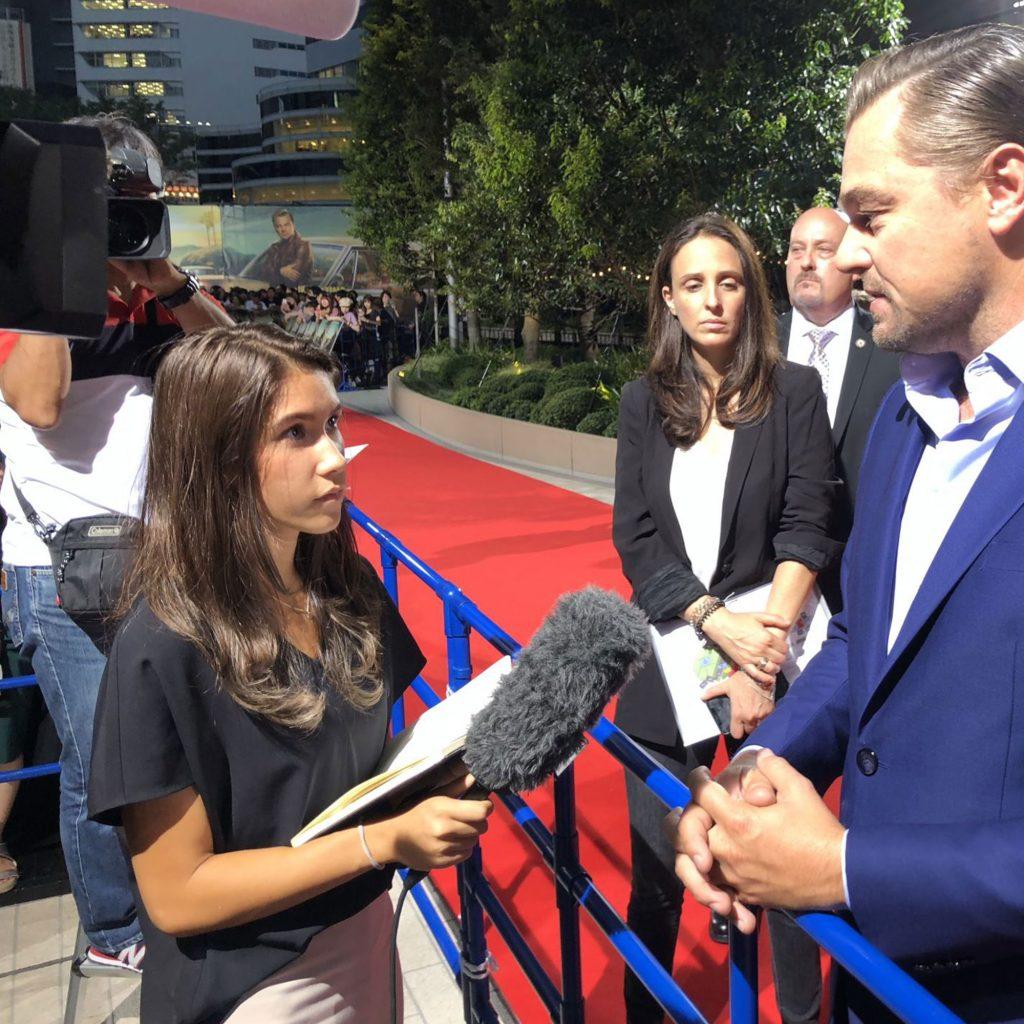 Student interviewing Leonardo Di Caprio