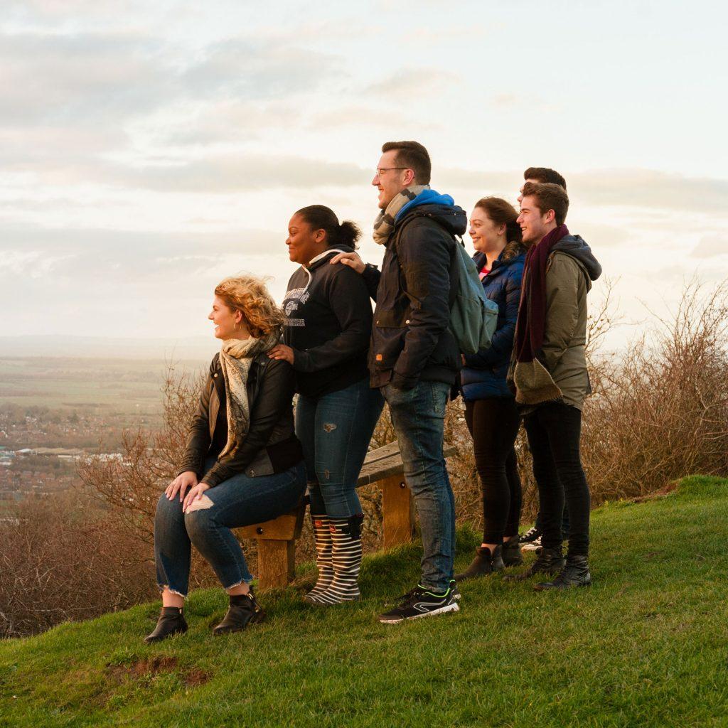 Students enjoying a view