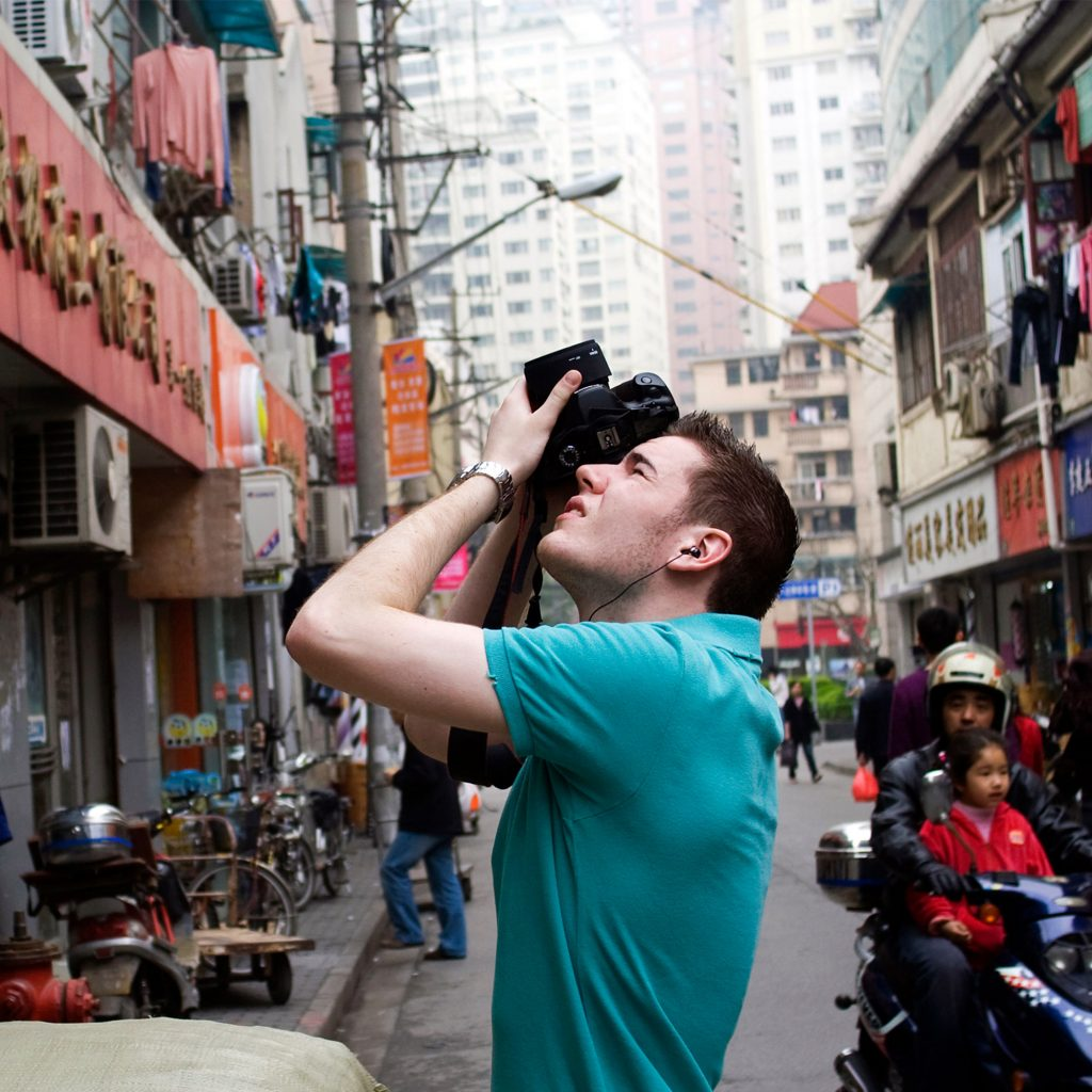 Student taking photos abroad