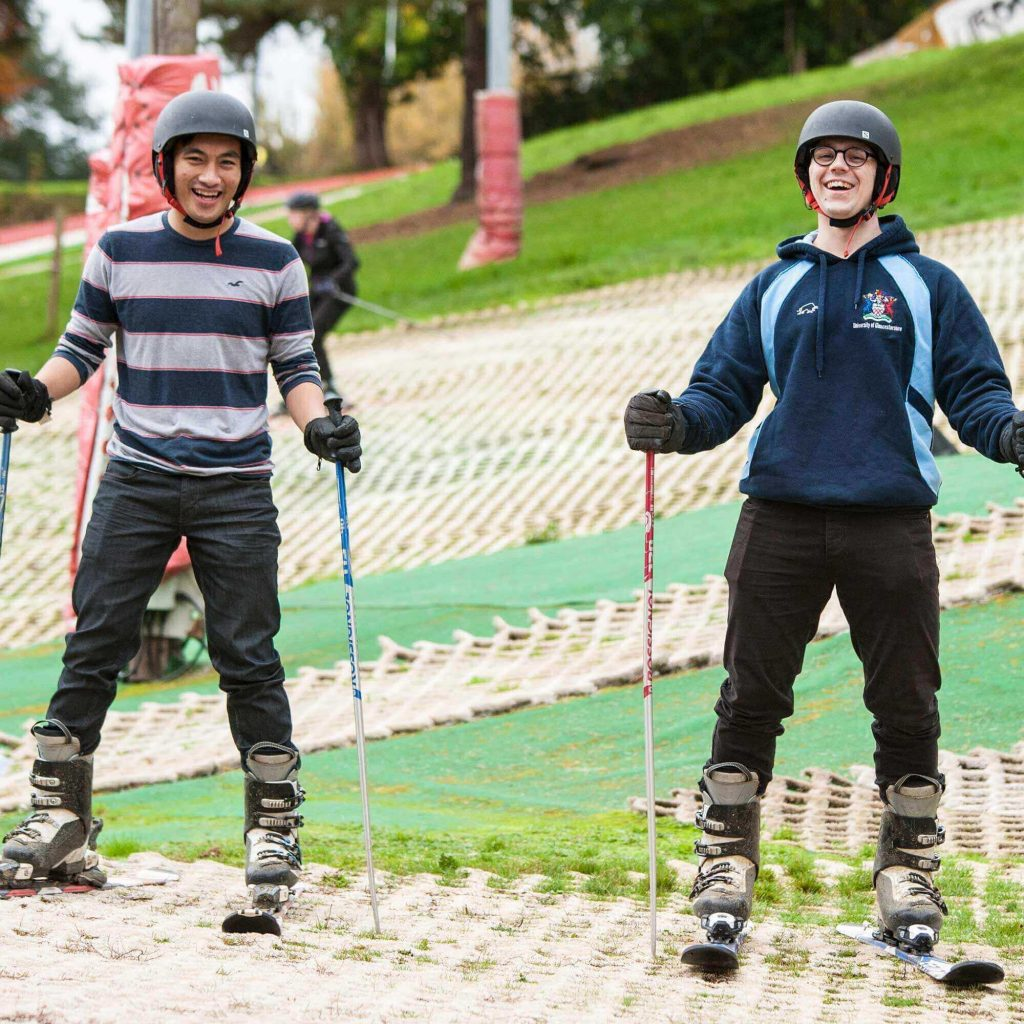 Students at the dry ski slope