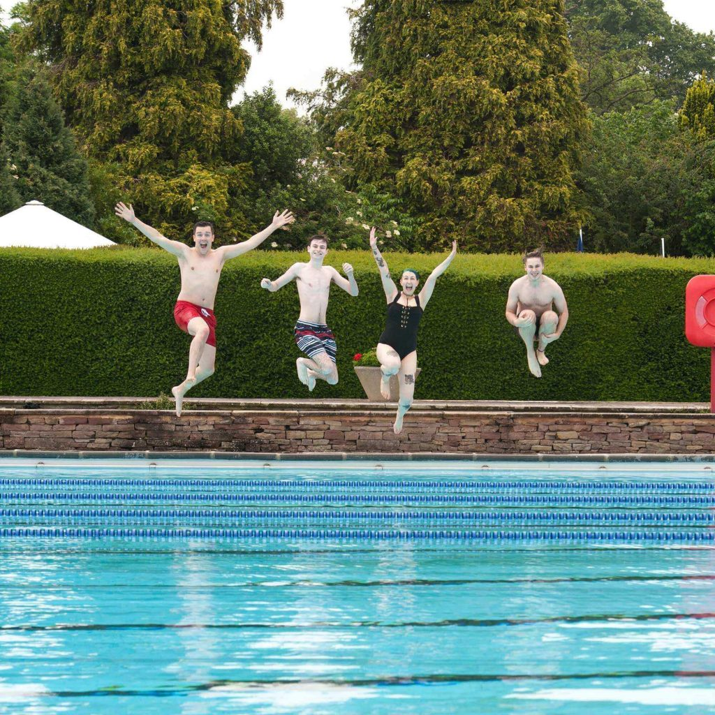 Students at the lido swimming pool